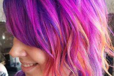 Purple Pink & A kiss of Orange Hair Colors Styles