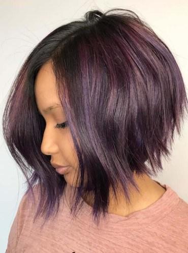 Razor Textured Purple Bob Haircuts for 2018
