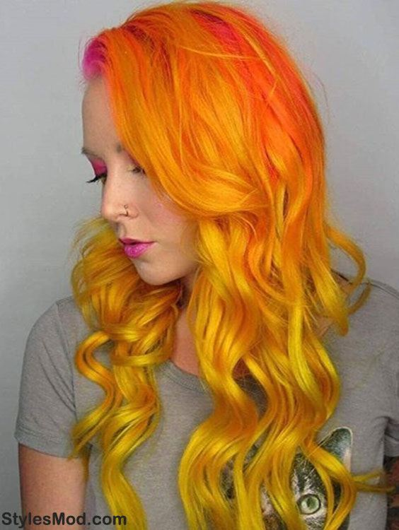 Tequila Sunset Hair Color Ideas for Girls