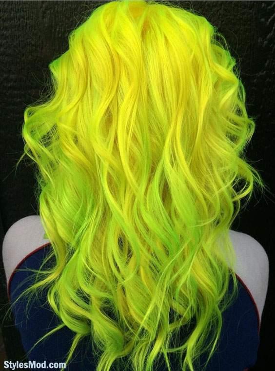 Neon Yellow & Neon Green Hair Color Highlights