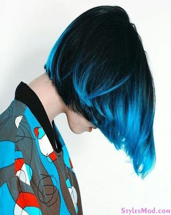 Lovely Combination of Black & Blue Hair Color Looks for 2018