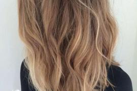 Lovely Long Blunt Brown Wavy Hairstyles with Balayage Highlights