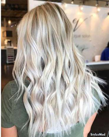 Platinum White Blonde Highlights for Long Hairstyles In 2018