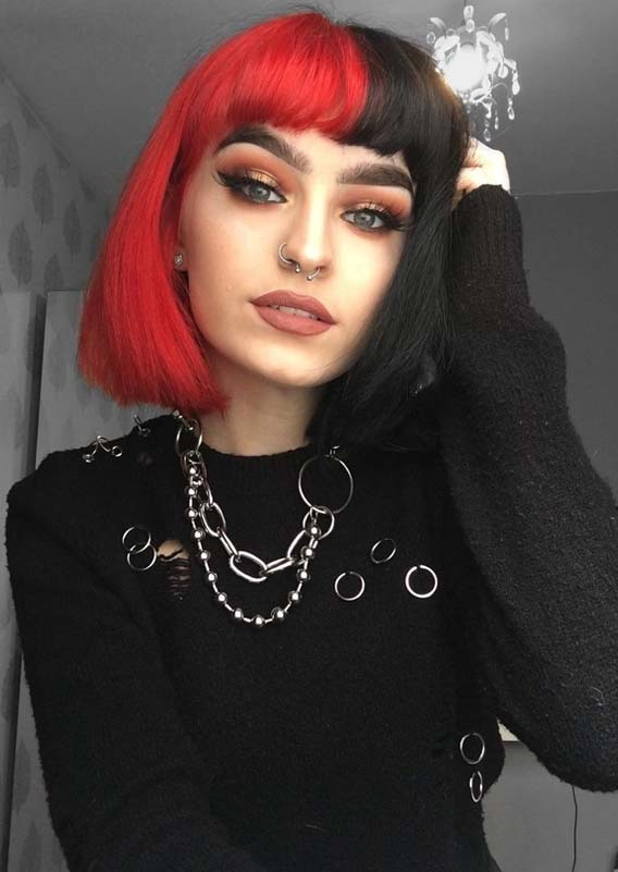 Two Toned Short Bob Haircuts with Bangs in 2018