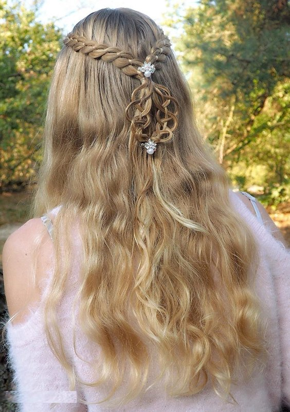 Half up style with 4 strand lace braids in 2018
