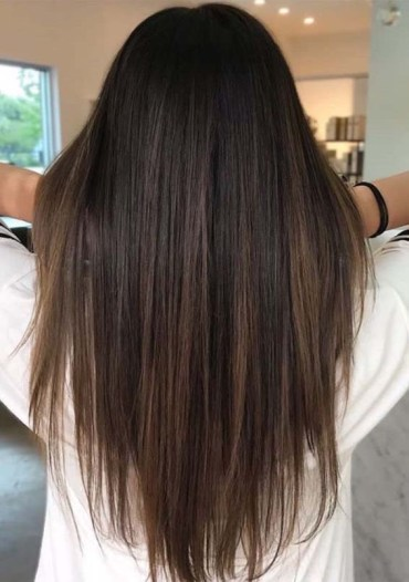 Long Straight Hairstyles with Brown Highlights in 2018
