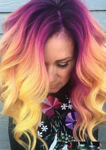Saturated Yellow Hair Colors With Purple Roots in 2019