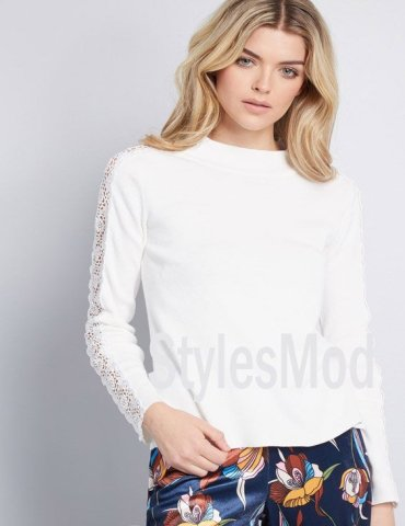 Graceful Doting Lace Sweater Styles for Young Girls In 2018