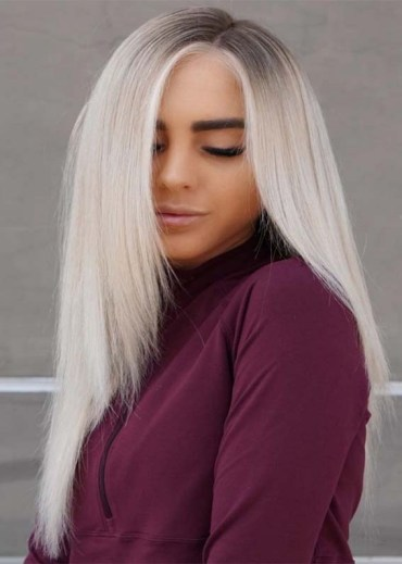 Straight Ice Blond Long Hair for Girls in 2019