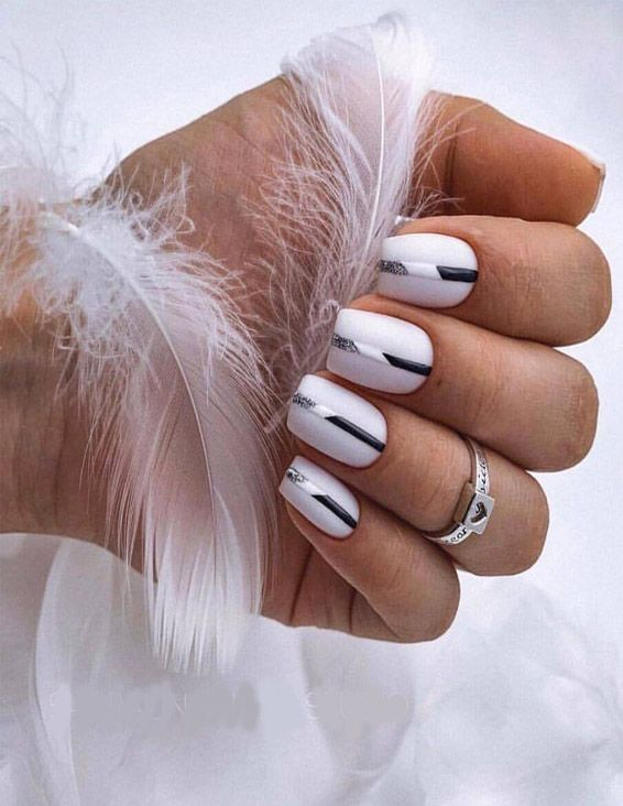Stylish White & Black Nails Combination for Girls