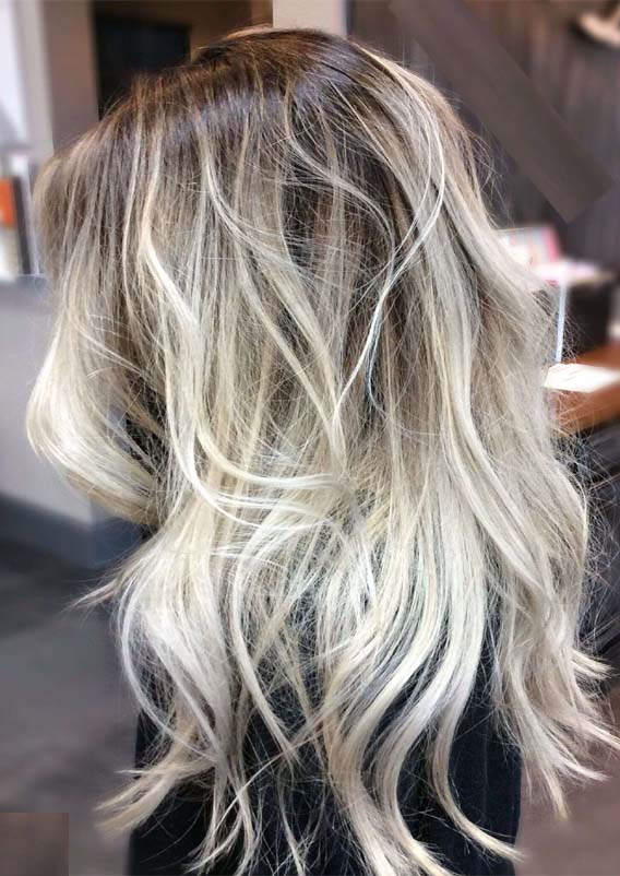 Ashy Blonde Hair with Dark Roots in 2019