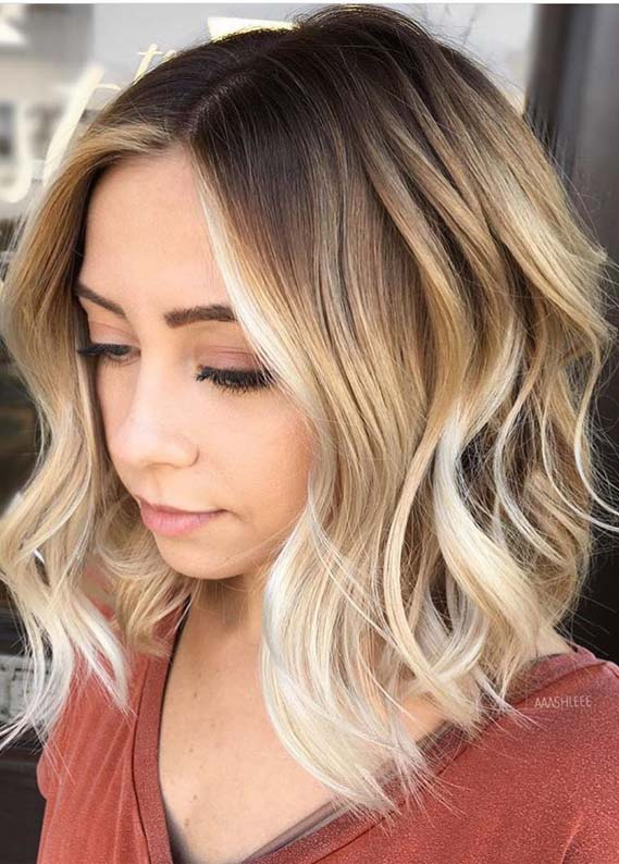 Bright Balayage Highlights with Dark Roots for 2019