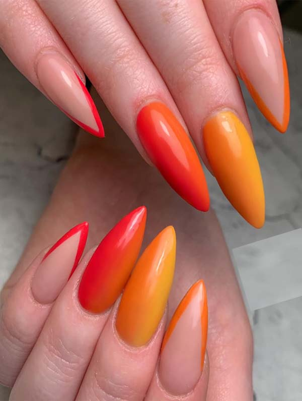 Creative Orange Red Nails Designs in Year 2019