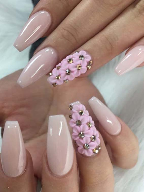 Fashionable Light Pink Nail Art Designs for 2019