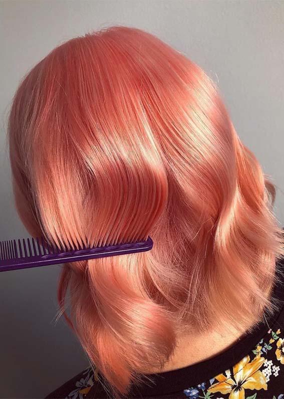Stunning Glossy Peach Hair Looks for Medium Length Hair in 2019