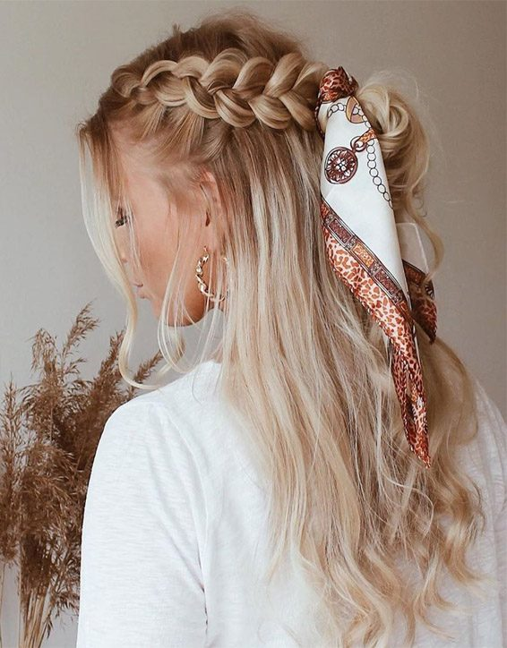 Awesome Braid Hairstyle with Scarf Look for 2019