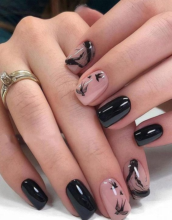 Stylish Black Nail Art Designs for 2019 Girls