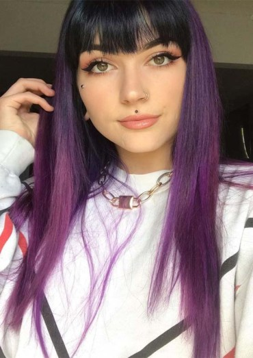 Awesome Purple Hair Styles with Bangs for 2019