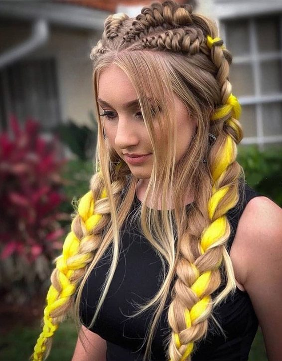 Super Styling Braids Hairstyles & Yellow Highlights for 2019