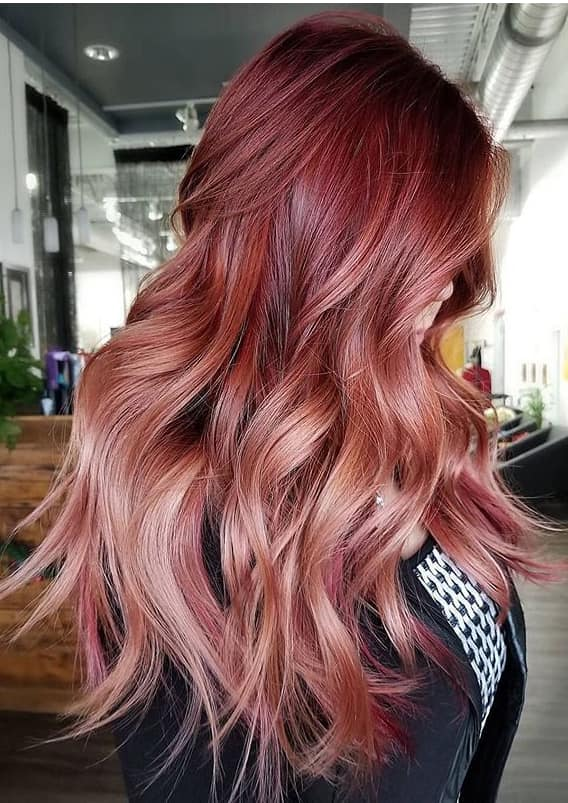 Beautiful cranberry balayage hair color shades in 2020