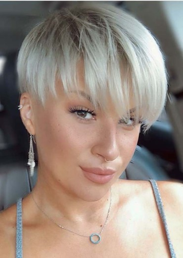 Amazing Pixie Blonde Haircuts with Bangs to Show Off Nowadays