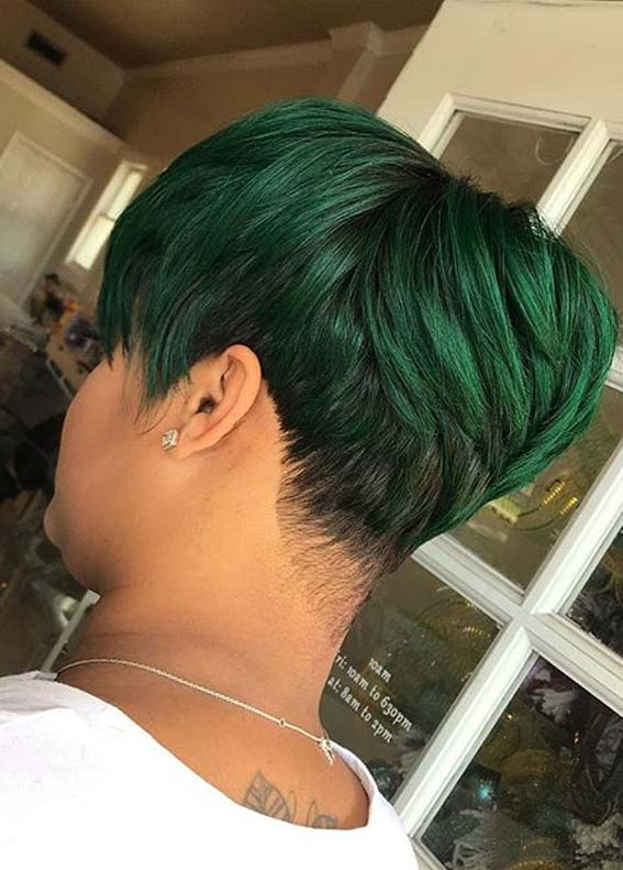 Awesome Short Pixie Green Haircut Styles for Girls in 2020
