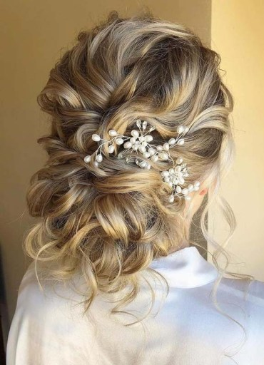Adorable Textured Updo Bridal Hairstyles for Women 2020