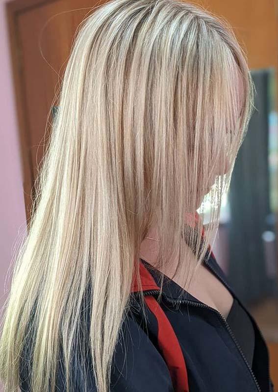 Elegant Long Sleek Blonde Hairstyles
