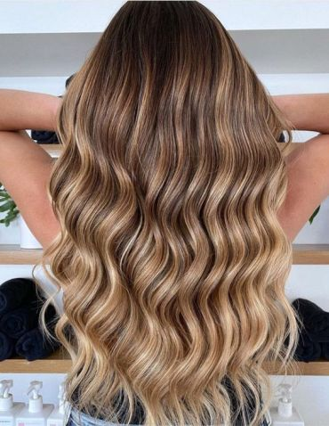 Lovely Butterscotch Balayage Highlights for Long Hair