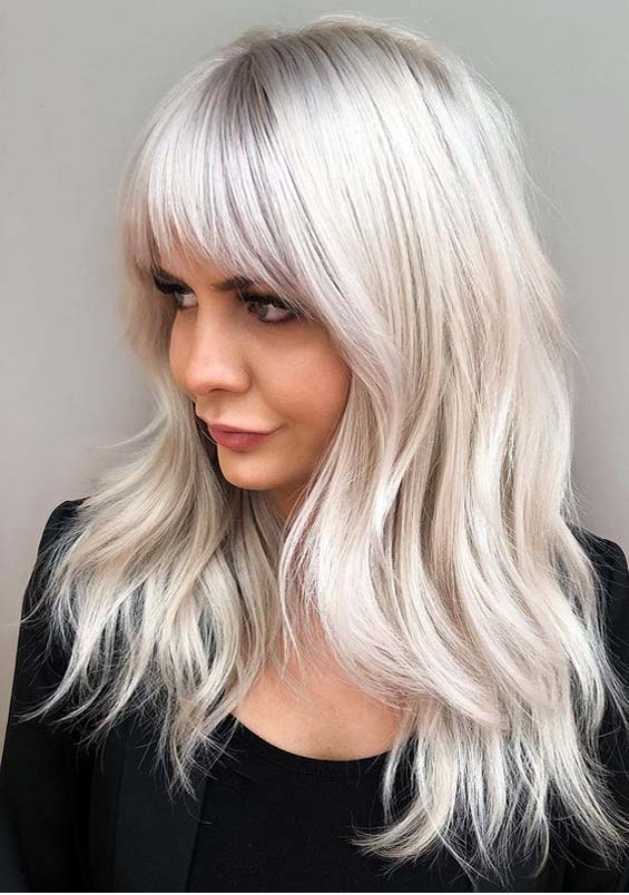 Long Shaggy Layers with Platinum Bangs