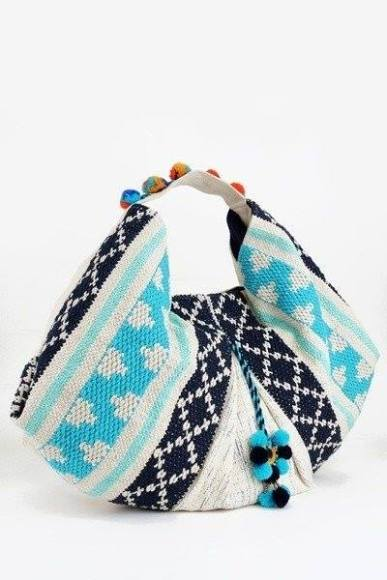 Tapestry Boho Bag with Pom Poms, $48