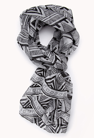 Forever 21 World Traveler Tribal print scarf. This tribal print and black and white is so in right now!