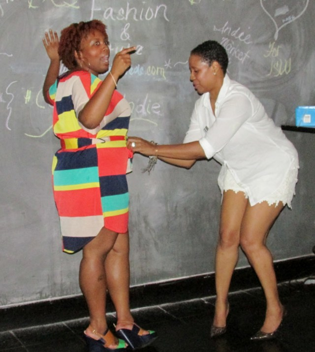 TaKeyia and Janice  working it out