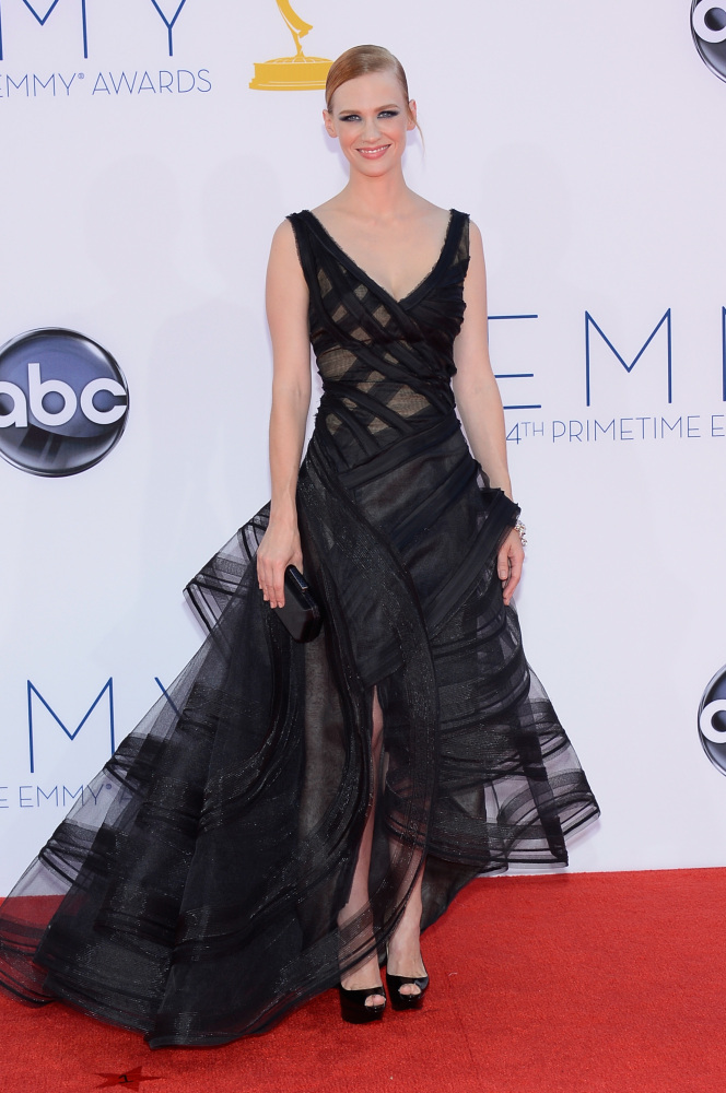 January Jones in Zac Posen (Photo: Getty Images and Huff Post Style)