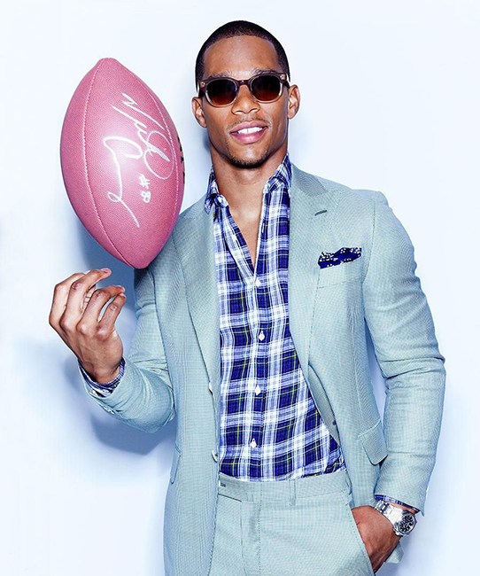 Kirk Edwards photographed the New York Giant's stylish wide receiver for DuJour Magazine at Fast Ashleys Studios.