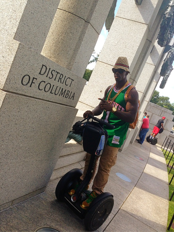 Segway in Style. Reppin' his city. But of course!