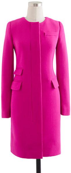 J Crew Vibrant Fuchsia Double Cloth Symphony Coat