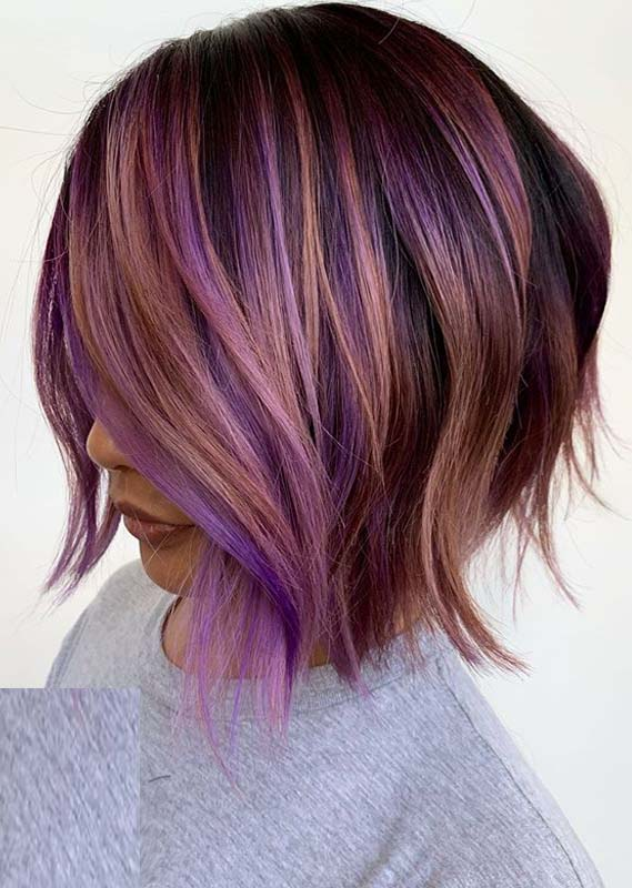 Best Peachy Purple Hair Color Ideas for Women in 2020