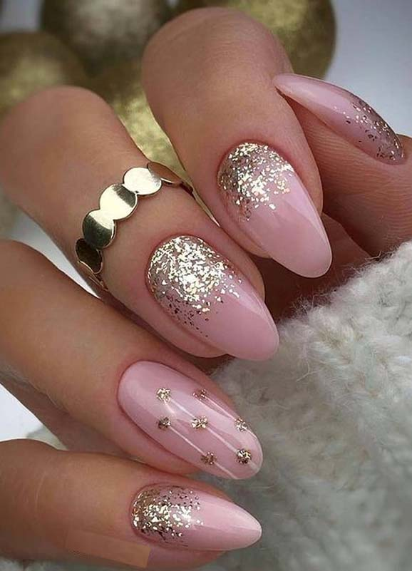 Amazing Glittered Pink Nail Designs for Girls
