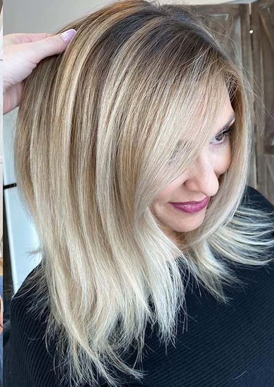Fresh Blonde Hair Color Shades with Dark Roots