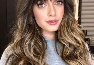 Blunt Bangs Hairstyle for Long Hair