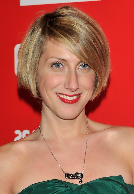 Cecilia Freire Short Stacked Bob Haircut With Bangs For