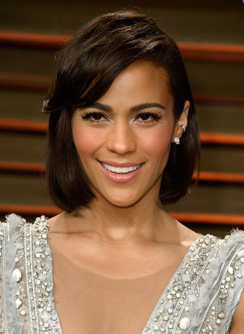 Paula Patton Short Hairstyle with Side Swept Bangs