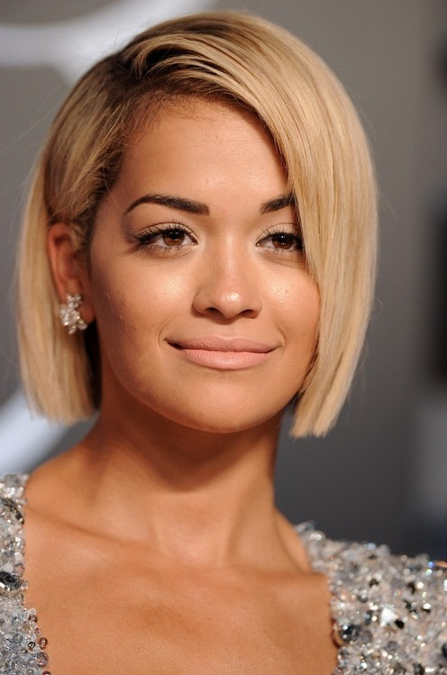 Rita Ora Short Bob Haircuts For Round Face Shapes Styles Weekly