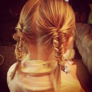 view of braided pigtails