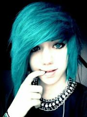 cute blue emo hairstyle styles