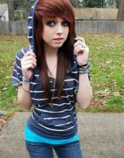 cute emo girl with long red hairstyle
