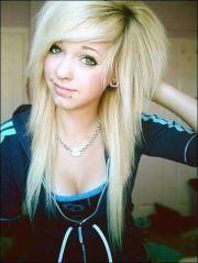 cute blonde emo hairstyle girls