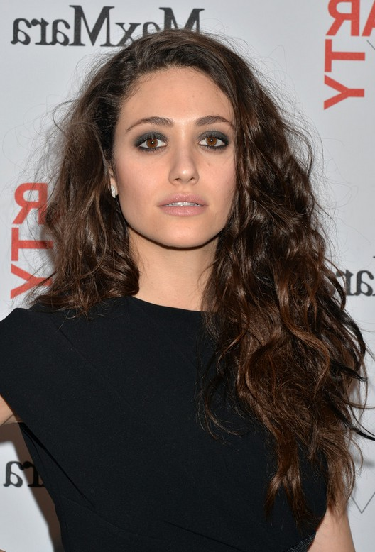 Emmy Rossum Messy Long Hairstyle With Tousled Curls