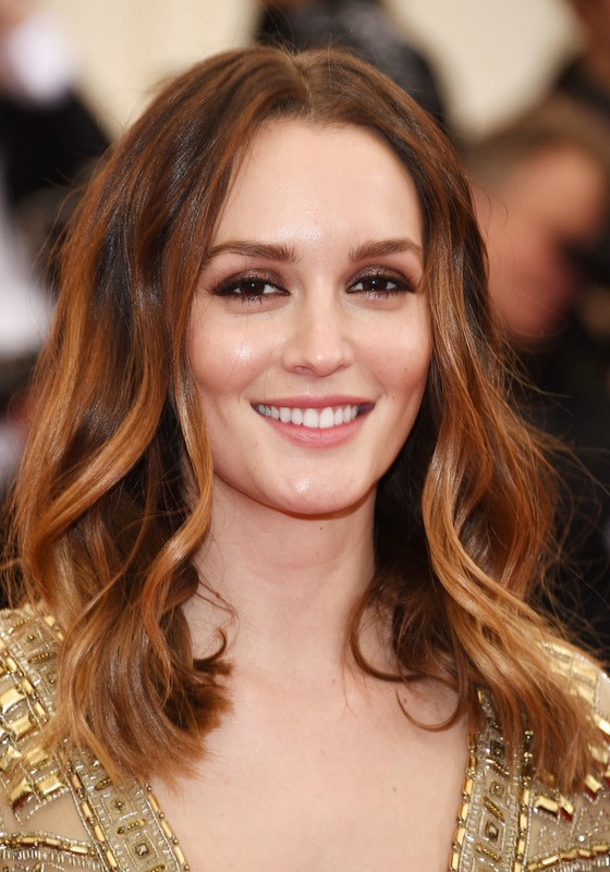Leighton Meester Layered Center Parting Long Wavy Haircut